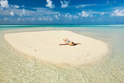 Sandbank en mitad del mar