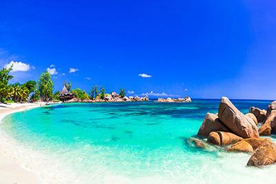 Panorámica de playa de Seychelles